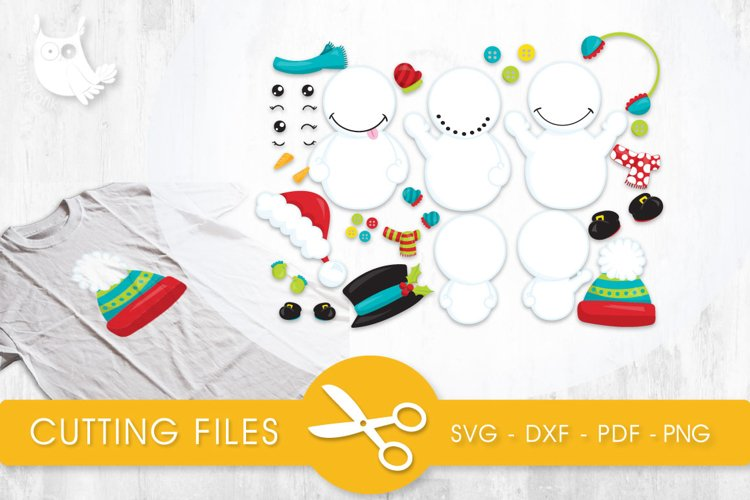Build A Snowman cutting files svg, dxf, pdf, eps included - cut files for cricut and silhouette - Cutting Files SVG example image 1