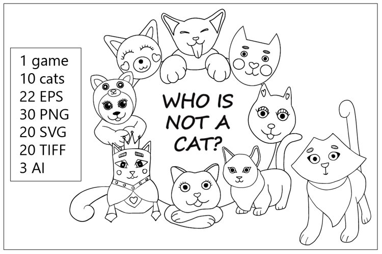 Questions game - Cute cat vector clipart