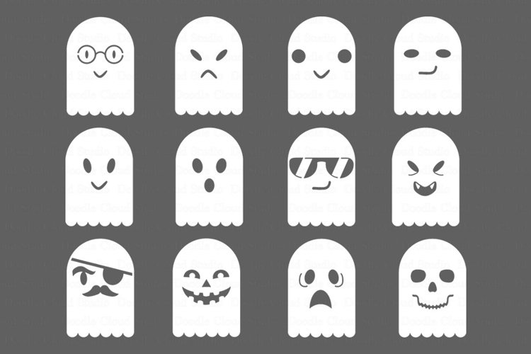 Ghosts SVG files for Silhouette Cameo and Cricut. Cute Ghosts clipart PNG transparent included. example image 1