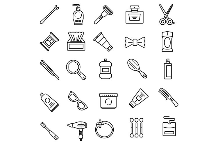 Personal care products outline icons set example image 1