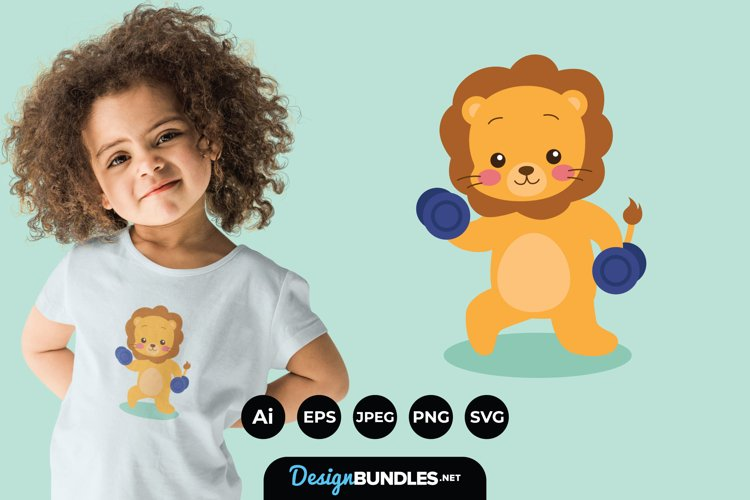 Lion Doing Exercise Illustrations for T-Shirt Design