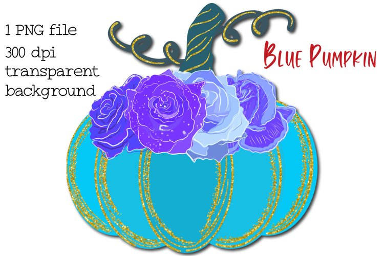 Pumpkin PNG, Blue Pumpkin with flowers example image 1