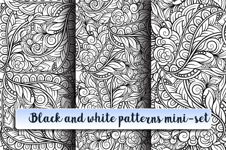 Black and white patterns mini-set