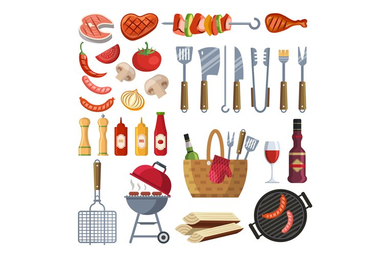 Different special tools and food for barbecue party. Grilled example image 1