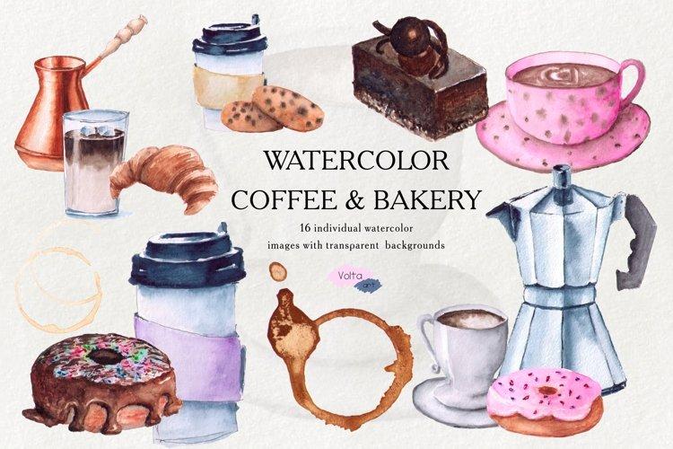 Coffee clipart, watercolor coffee clip art, Croissant