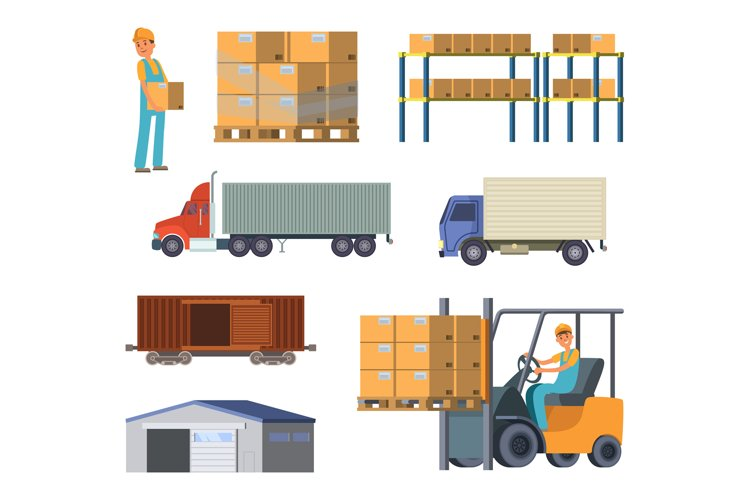 Warehouse and logistics processes. Worker with packages. Dif example image 1
