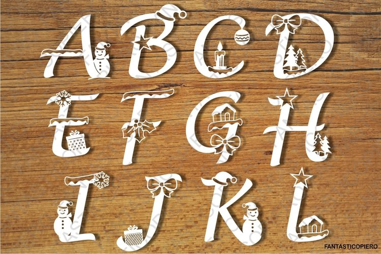 Decorated Christmas Alphabet and Numbers SVG files.
