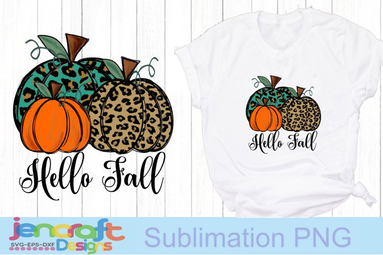 Hello Fall Cheetah Pumpkin png Sublimation PNG file design example image 1