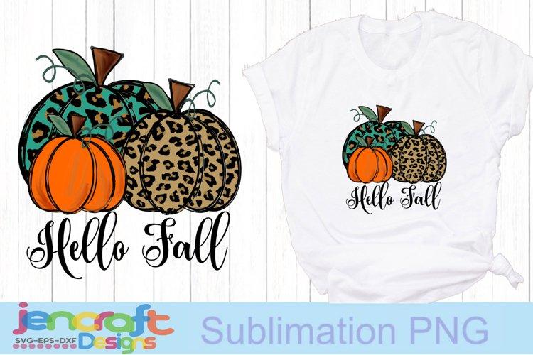 Hello Fall Cheetah Pumpkin png Sublimation PNG file design