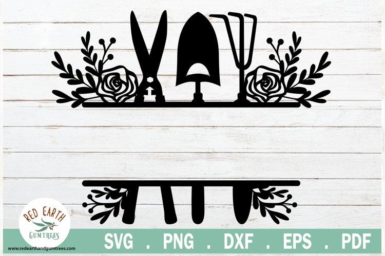 Floral garden tools split monogram frame SVG,EPS,PNG,DXF,PDF