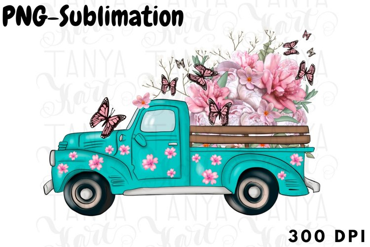Sublimation Design   Turquoise Truck   Floral Art