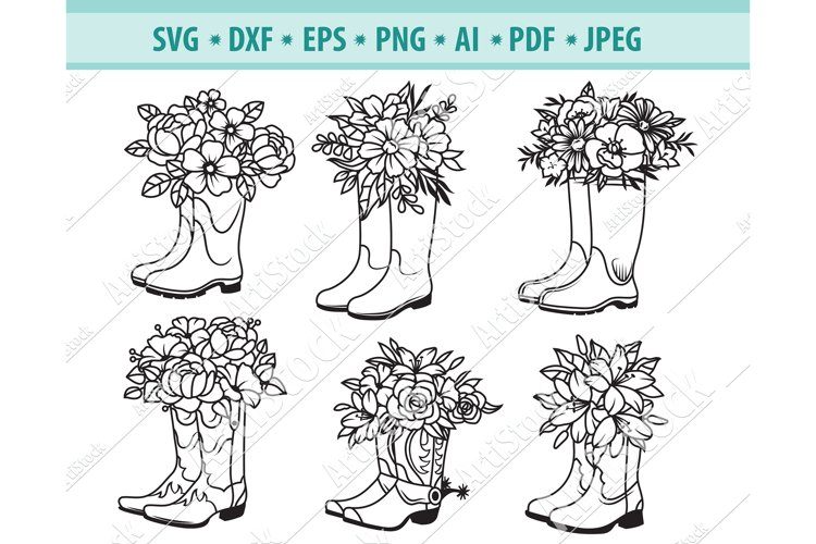 Boots SVG, Boots with Flower PNG, Boots Clipart Eps, Dxf
