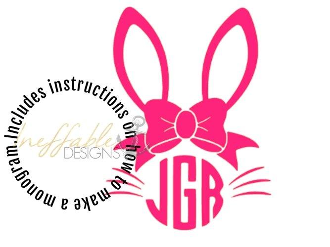 Girls Bunny Monogram Easter Monogram