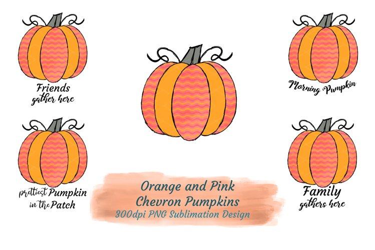 Orange Pink Chevron Pattern Pumpkin Words Family Gathers PNG