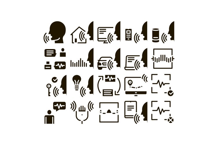 Voice Control Collection Elements Icons Set Vector example image 1