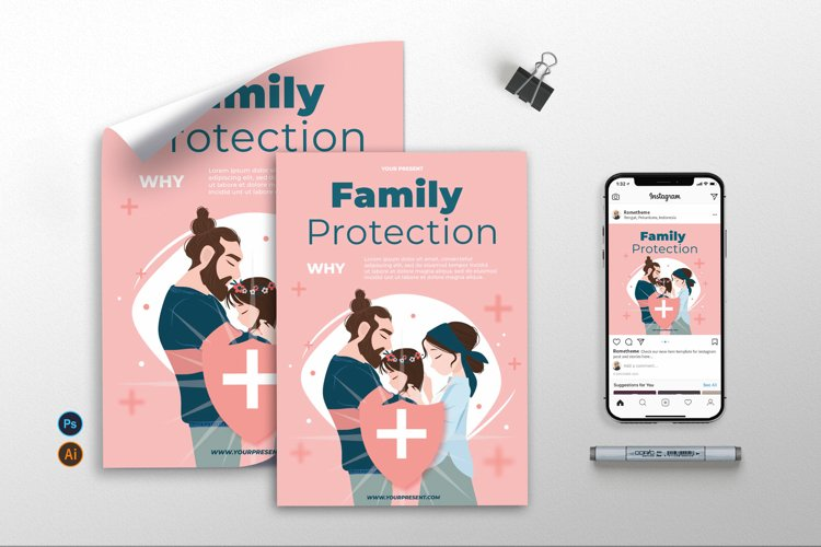 Family Protection - Flyer, Poster & Instagram Post AS
