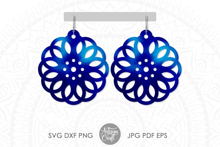 Geometric earring SVG, Leather earring template, Cut file example image 1