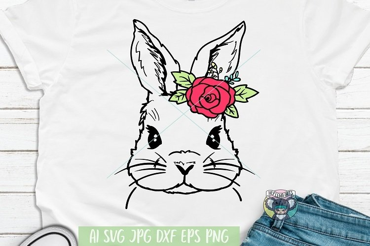 Bunny svg, Easter svg, Floral Wreath svg, Cricut Cut Files example image 1