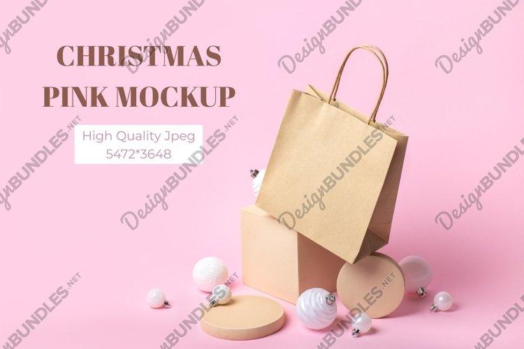 Kraft paper bag mockup with Christmas decor