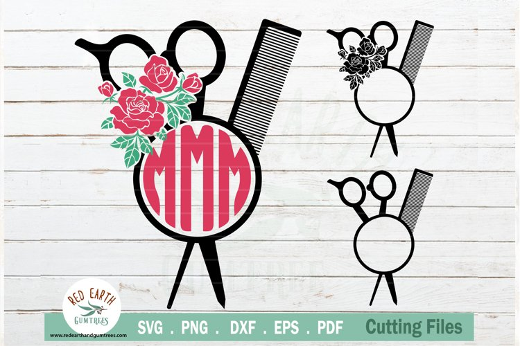 Download Floral Hairstylist Barber Rose Hairdresser Monogram Svg 769113 Cut Files Design Bundles
