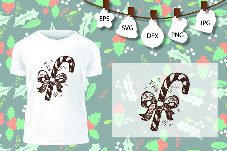 Candy canes sweets Christmas winter holiday magic SVG