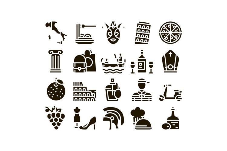 Italian Traditional Glyph Set Vector example image 1
