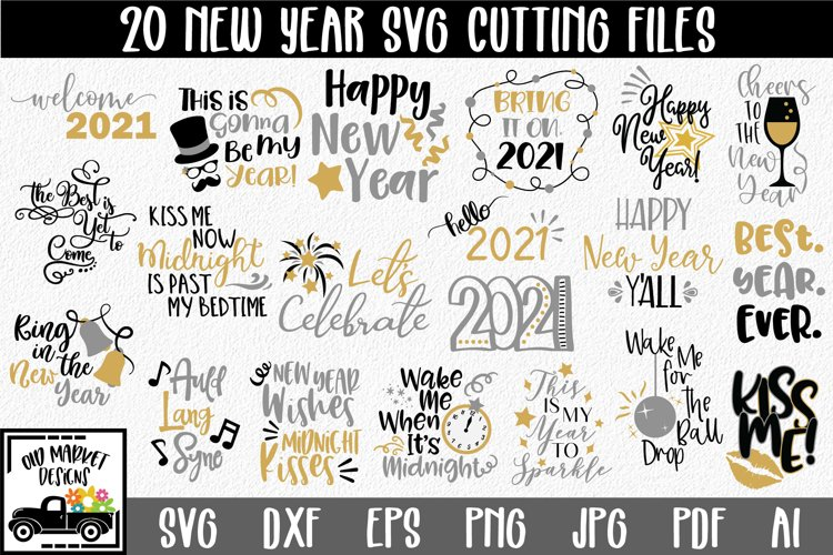 New Year's SVG Bundle with 20 SVG Cut Files DXF EPS PNG example image 1
