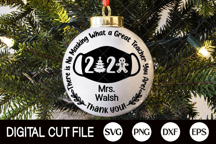 Christmas Ornament Svg, Teacher Gift Ornament, 2020 SVG, DXF example image 1
