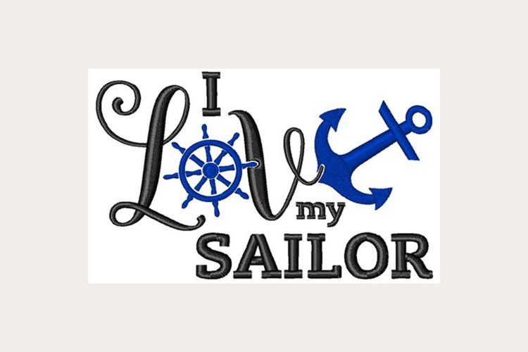 Love My Sailor - Machine Embroidery Design example image 1