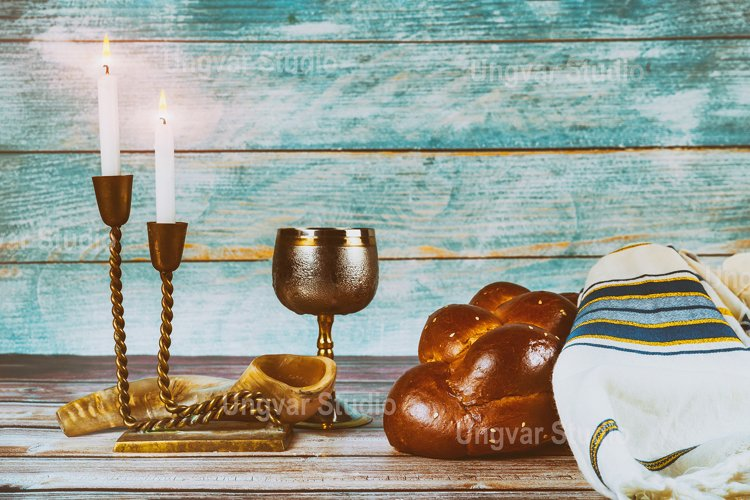 Shabbat eve with challah bread candles wine Jewish Holiday example image 1