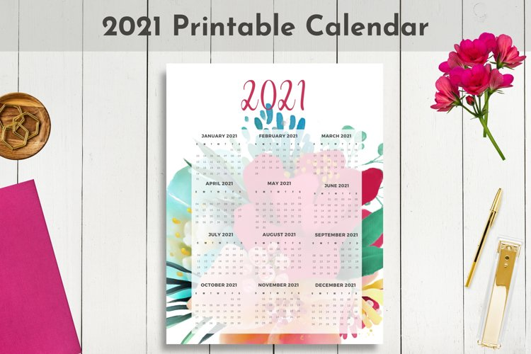 2021 Dated Printable Floral and Gold Calendar example