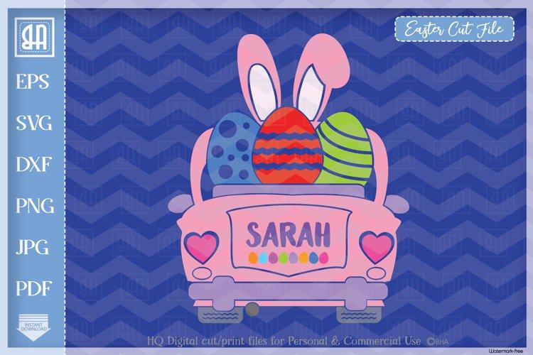 Easter car svg - Vintage car svg - Girls Easter clipart example image 1