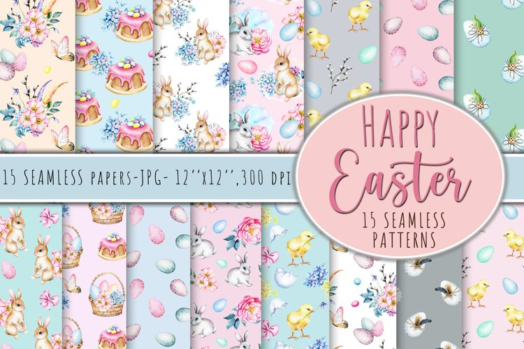 Seamless Watercolor Easter Papers, Easter seamless Pattern