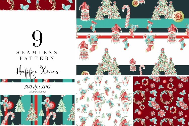 9 seamless pattern Xmas decor, repeat pattern, JPG, holidays example image 1