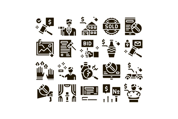 Auction Buying And Selling Goods Icons Set Vector example image 1