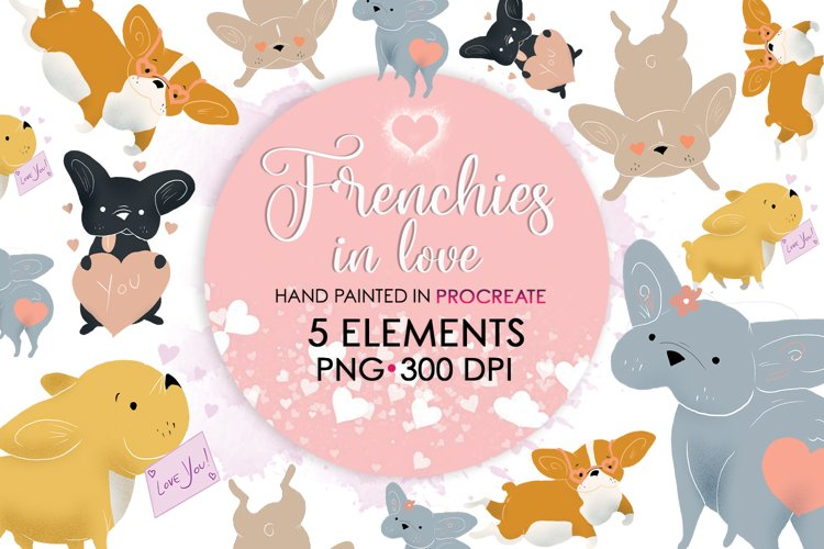 Love Clipart, Valentine Clipart, Valentines Bundle, Frenchie example image 1
