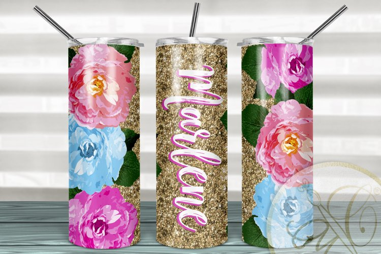 Floral 20 oz Skinny Tumbler Sublimation /Gold Glitter example image 1