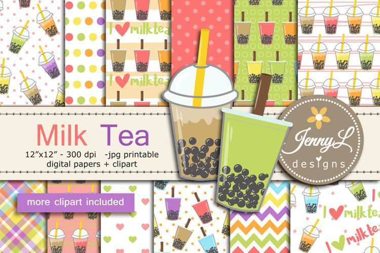 Milk Tea Digital Paper and Clipart example image 1