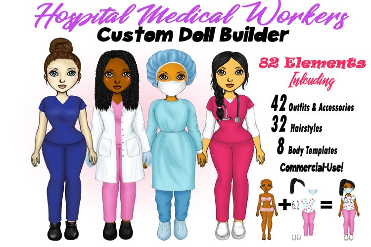 Healthcare Worker Nurse Doctor Clipart Customizable Doll PNG