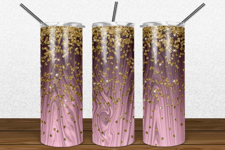 Rose Gold Wood Gold Glitter 2oz Skinny Tumbler Sublimation example image 1