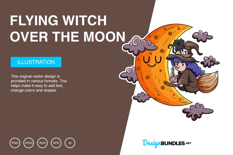 Flying Witch Over The Moon Vector Illustration