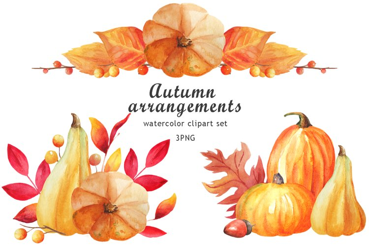 Watercolor pumpkin bouquuet clipart. Thanksgiving png.