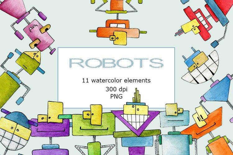 Watercolor robots clipart PNG