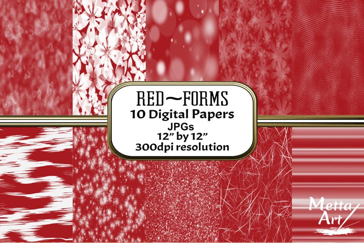 Red Forms - 10 Digital Papers/Backgrounds example image 1