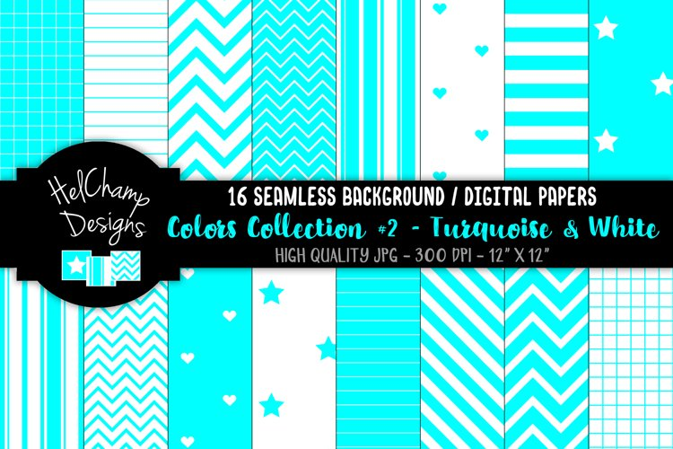 16 seamless Digital Papers - Turquoise and White - HC125