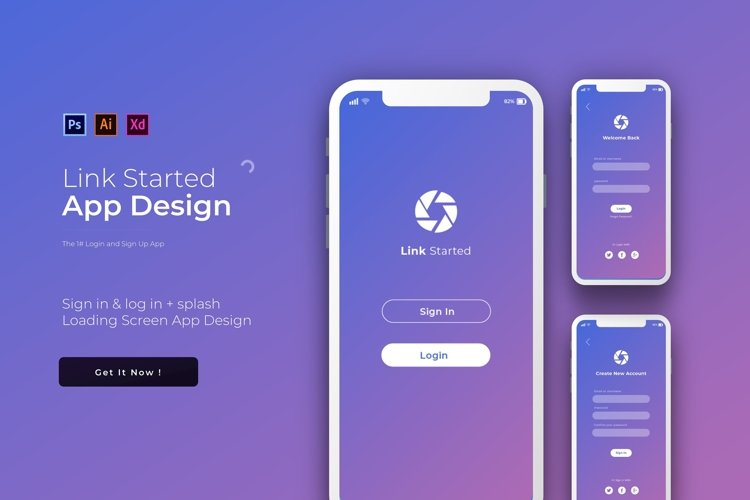 Link Login & Signup | App Template example image 1