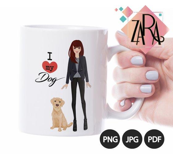 I love my dog PNG JPG PDF Clip art clipart wall art illustration pet Labrador retriever mug design dog design pet design pet fashion girl example image 1