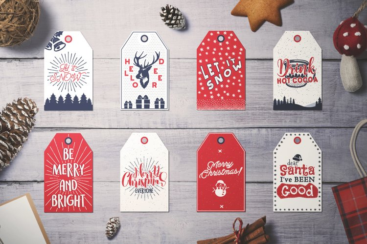 Christmas Tags SVG Bundle, Xmas Cards DXF Cuts Collection example image 1