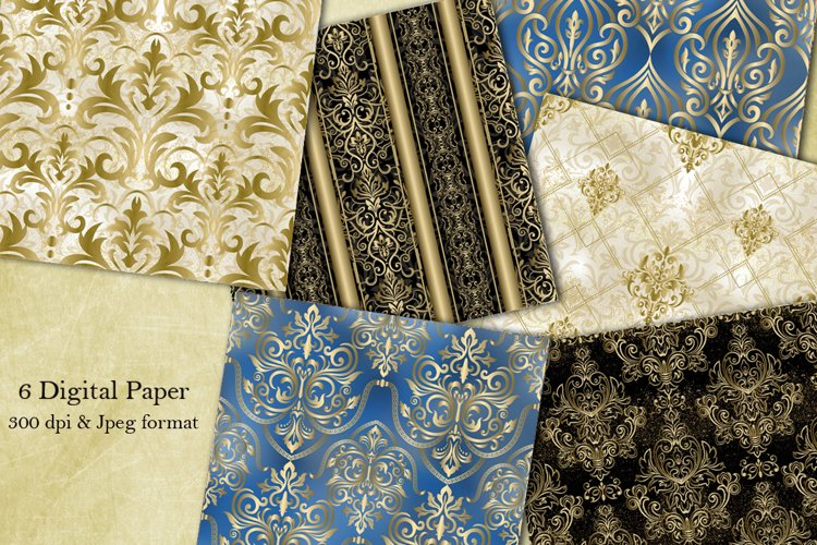 Damask seamless pattern collection. Scrapbook paper. Vintage example image 1