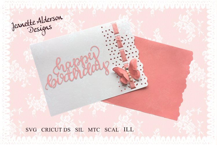 SVG card cutting Coral Pink butterfly card  example image 1